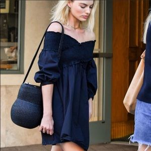 Zara Off the Shoulder Poplin Dress Navy